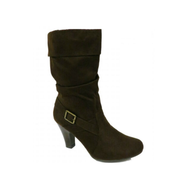Ladies Dark Brown Faux Suede Buckled Zip-Up Biker Ankle Boots Women Sizes UK 3-8