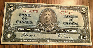 1937-CANADA-5-DOLLARS-BANK-NOTE-A-S-Coyne-Towers