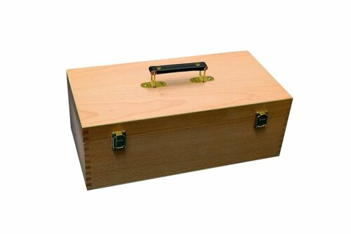 Wooden Storage Box for Art /& Craft Supplies with Pull Out Tray