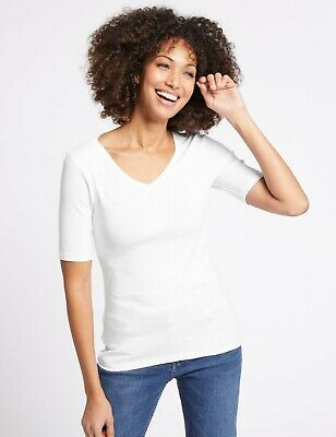 Marks and Spencers M/&S V Neck half long SLEEVE TOP White comfort cotton