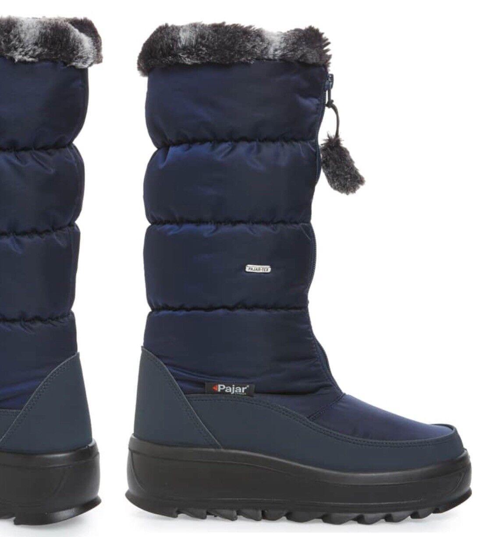 WOMENS PAJAR BOOT Toboggan 2 Faux Fur Tall Navy Waterproof Insulated 7.5 New