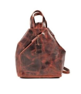 Genuine Leather Women Mens Bag Backpack Office Work Messenger Bag
