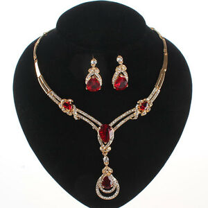 RED-GARNET-RUBY-TOPAZ-PENDANT-GOLD-PLATED-CRYSTAL-NECKLACE-EARRING-JEWELRY-SET
