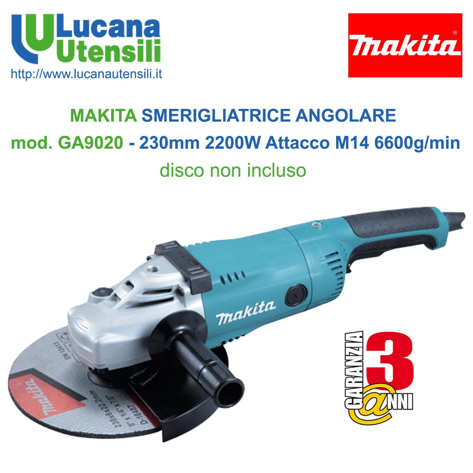 MAKITA SMERIGLIATRICE ANGOLARE modello GA9020 230mm 2200W Attacco M14 6600g min