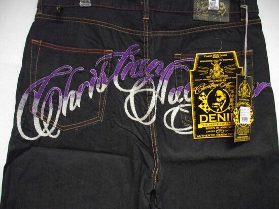 Christian Audigier Ed Hardy mens Platinum Skull pink Stones denim shorts  BK