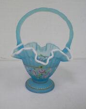 "FENTON AQUA TURQUOISE HAND PAINTED FLORAL DESIGN ART GLASS BASKET 9"""