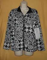 Onque Petite Women's Black White Zip Ls Stretch Jacket Coat Collar Top $68