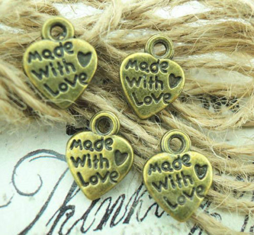 Free Ship 100//500pcs Antique Bronze Made with Love Coeur Charms Pendentif 9x11mm