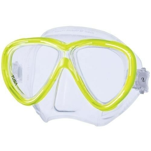 Tusa Freedom One 2-Window Low Volume Scuba Diving Mask Yellow Clear Silicone