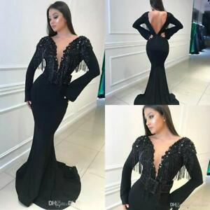 Bead-Tassel-Mermaid-Prom-Dresses-Sexy-Formal-Party-Pageant-Cocktail-Evening-Gown