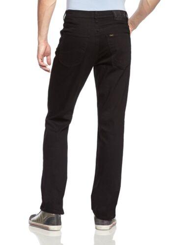 Neu lee Brooklyn Herren Gerades Bein Jeans Stretch Clean Schwarz Regular Hose