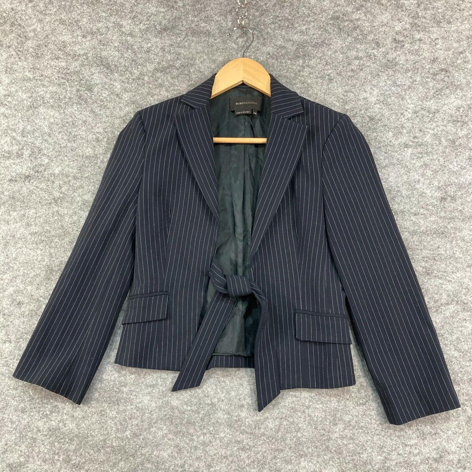 BCBGMAXAZRIA Womens Jacket Size 2XS Blue Striped Tie Front Long Sleeve 193.34