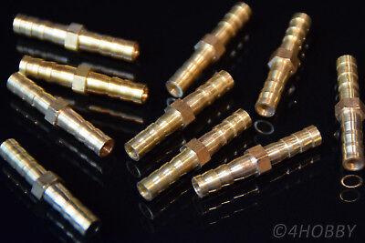 10 Messing-verbindungsstücke 6mm Kraftstoff Lpg Luft Verbinder Schlauchverbinder