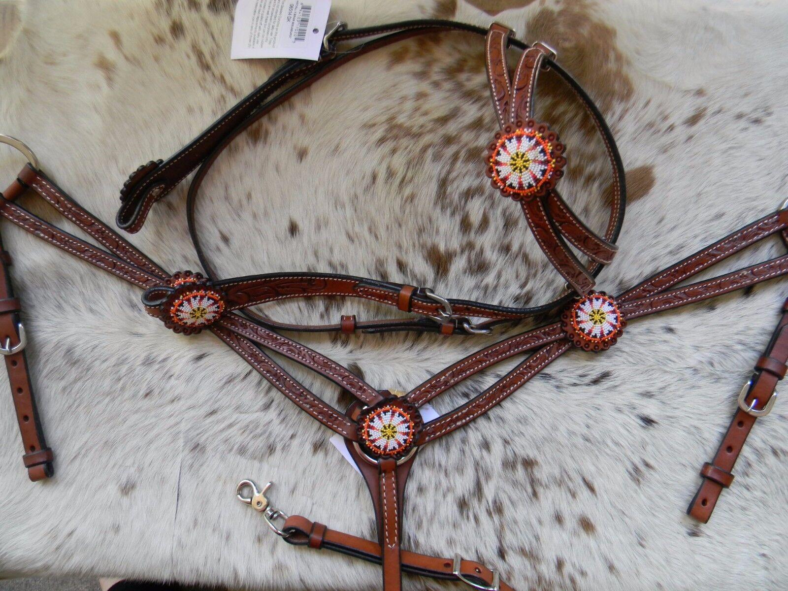 Wulstiges M Öl Öl Öl Leder Western Pferd Halfter & Brustblatt Set Neu d429cf