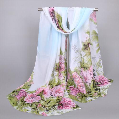 New Fashion Women Long Soft Wraps Lady Châle Fleurs De Soie en mousseline de soie écharpe écharpes