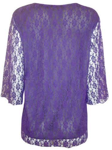 Sizes UK 22 to 28 NEW EAONPLUS Gorgeous PURPLE Overlaid Lace 3//4 Sleeve Top