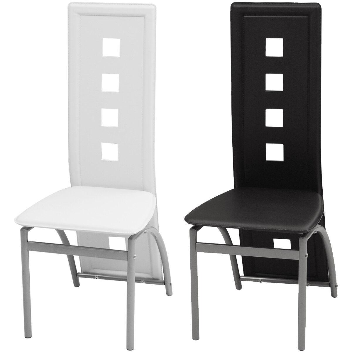 VidaXL 2 4 6x Sillas de Salón Comedor Modernas Cuero Artifical Negro blancoo