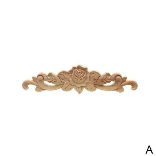 1pc Wood Carved Corner Onlay Applique Unpainted Frame Decal Home Furniture Decor