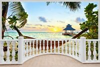 Huge 3D Balcony Exotic Ocean Beach Wall Stickers Decal Wallpaper 405