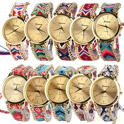 Women New Fashion Geneva Ethnic Braided Analog Quartz Chain Bracelet Wrist Watch