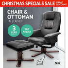 PU Leather Wood Arm Lounge Chair Recliner Ottoman Office Armchair Couch Black