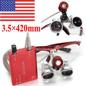 USA-Red-Dental-Loupes-Surgical-Medical-Binocular-3-5X-420mm-LED-Head-Light-Lamp