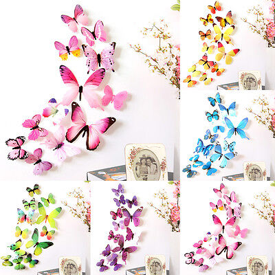 12pcs Decal Wall Stickers Home Decorations 3D Butterfly Rainbow 5 Colors