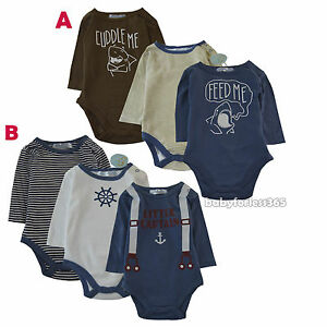 1d9d08300 Baby Boys Long Sleeve Cotton 3 pieces Bodysuits Lot Wholesale Size 3 ...