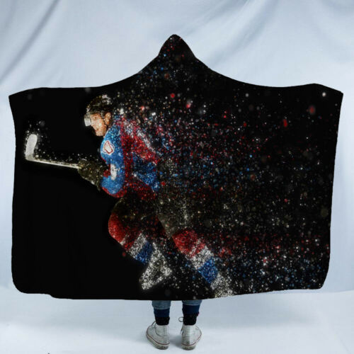 Hockey Sports Hooded Blanket Thicked Soft Warm Sherpa Fleece Wearable Blankets