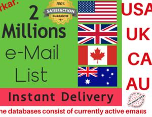 2 million USA UK canada australia consumer email list data-email marketing