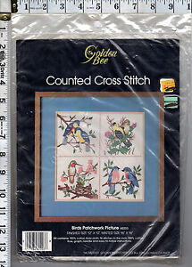 NOS-1985-Golden-Bee-Counted-Cross-Stitch-Kit-60203-Birds-Patchwork-Picture