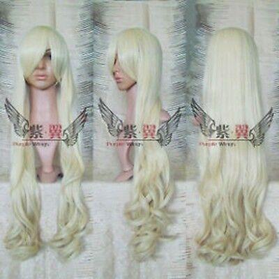 New Cosplay Long Platinum Blonde Wavy Wig 39 Inch/1M