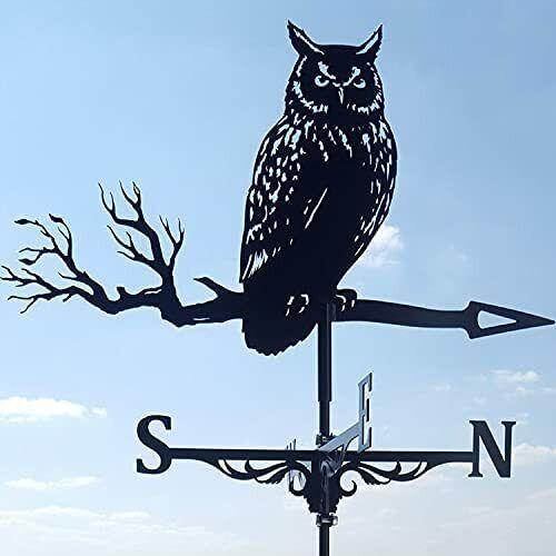 Garden Roof Metal Owl/Eagle Weather Vane Yard Barn Weathervane Scene Craft Decor
