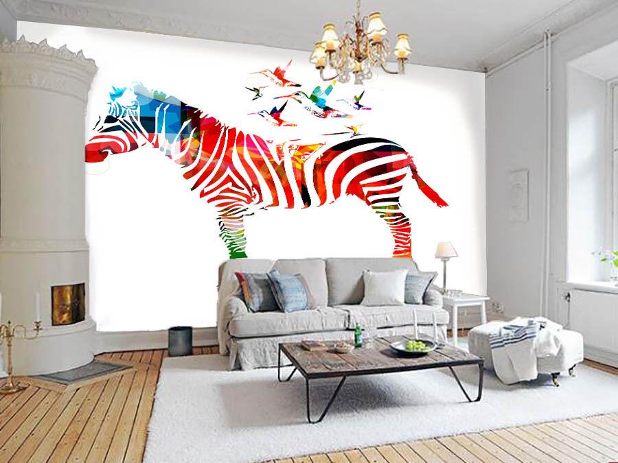 3D Farbe Zebra 75 Wallpaper Mural Paper Wall Print Wallpaper Murals UK Lemon