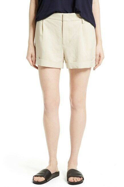 195 NWT VINCE Slouchy Rolled Cuff Pleated Short Linen Blend Ivory Size 12
