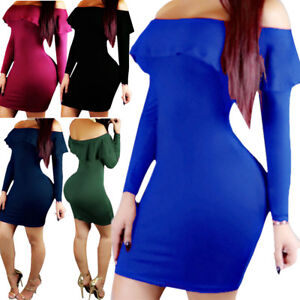 Women-Bandage-Bodycon-Long-Sleeve-Evening-Party-Cocktail-Mini-Dress-Off-Shoulder