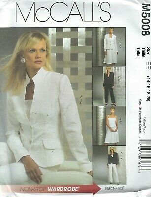 Top Skirt McCall/'s 4463 Misses/'//Miss Petite Unlined Jacket in 2 lengths Pants