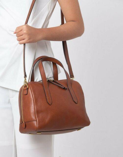 Fossil Sydney Satchel Crossbody Brown Leather Handbag SHB1978210 NWT Retail