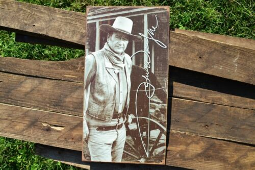 Retro Cowboy Stagecoach Vintage John Wayne Signature Tin Metal Sign