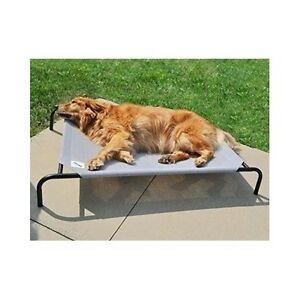 Elevated Dog Bed Indoor Outdoor Pet Cot Knit Fabric Cool Comfort