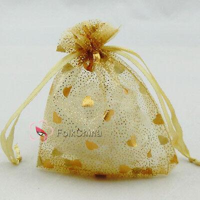 "10 x Solid Heart Gold 7x9cm 2.7""x3.7"" Organza Wedding Gift Pouches Bag"