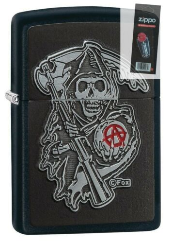 Zippo 29489 Son of Anarchy Reaper Emblem Black Matte Finish Lighter + FLINT PACK