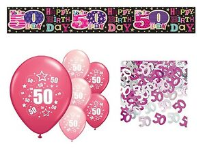 Image Is Loading 50TH BIRTHDAY PARTY PACK DECORATIONS BANNER BALLOONS CONFETTI