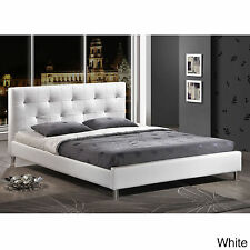 White Leather Bed Frame Full Size Tufted Headboard Footboard Bedroom Platform