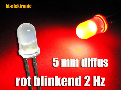 25 Pcs LED 5mm Red Matt//Diffuse Flashing about 2 times per second 1.5-2.5 Hz