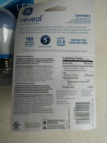 GE Reveal LED 8W A19 Dimmable Bulbs Soft White 6