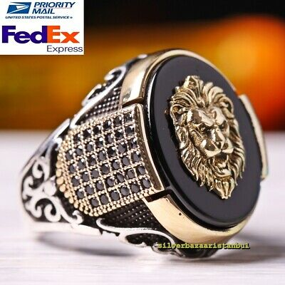 Turkish 925 Sterling Silver Special black onyx stone King Lion Design Mens Ring