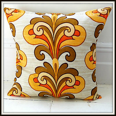 Vintage 60s 70s cushion cover orange psychedelic mid-century funky retro cool