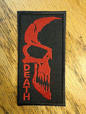 DEATH SKULL EMBROIDERED PATCH BLACK & RED MADE IN USA