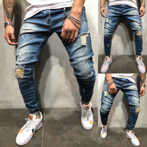 COOL-Men-Ripped-Skinny-Jeans-Destroyed-Frayed-Slim-Fit-Long-Denim-Pants-Trousers